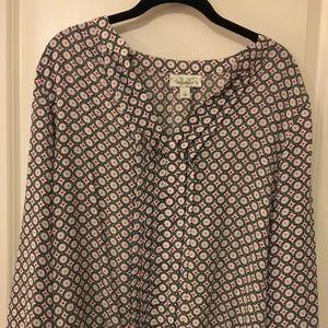 Dress Barn navy/red pattern blouse size L